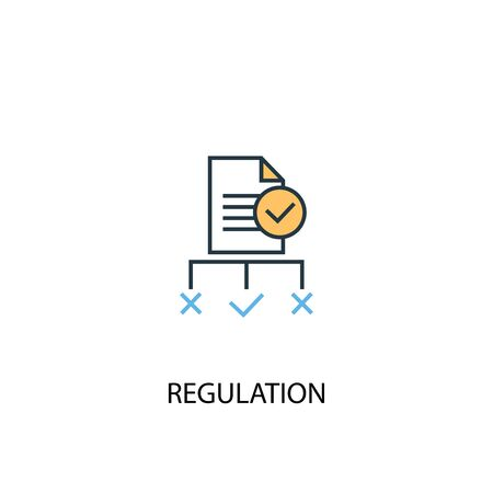 regulation concept 2 colored line icon. Simple yellow and blue element illustration. regulation concept outline design Stok Fotoğraf - 133749129