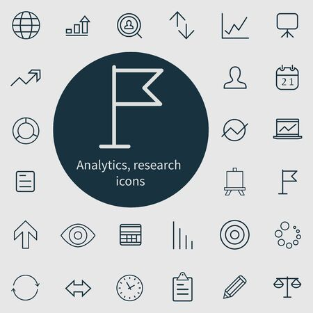 analytics, research outline, thin, flat, digital icon set.