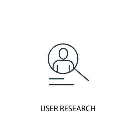 Icône de ligne de concept de recherche utilisateur. Illustration d'élément simple. Conception de symbole de contour de concept de recherche d'utilisateur. Peut être utilisé pour l'interface utilisateur Web et mobile