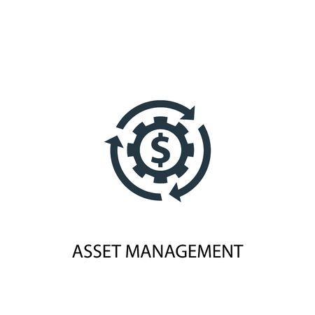 Asset-Management-Symbol. Einfache Elementabbildung. Asset-Management-Konzept-Symbol-Design. Kann für Web verwendet werden