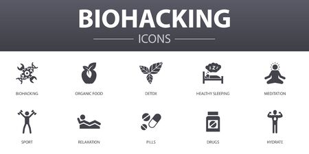 biohacking simple concept icons set. Contains such icons as organic food, healthy sleeping, meditation, drugs and more, can be used for web