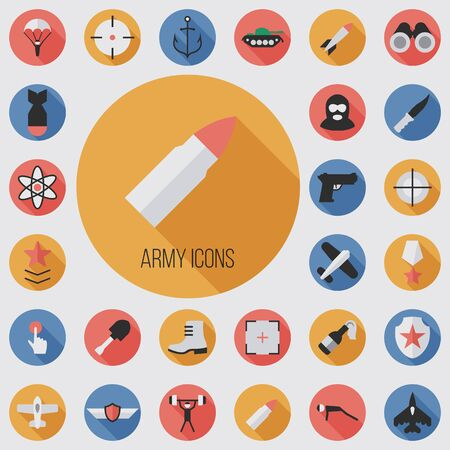 army flat, digital icon set