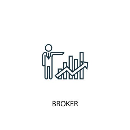 Broker concept line icon. Simple element illustration. Broker concept outline symbol design. Can be used for web and mobile Ilustração