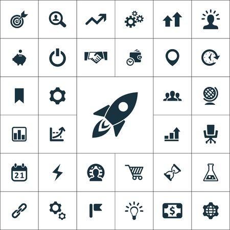 set di icone di avvio universali per web e interfaccia utente Vettoriali