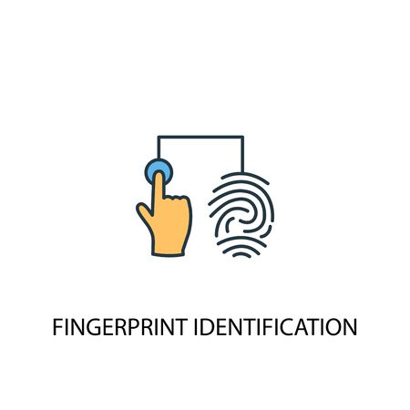 fingerprint identification concept 2 colored line icon. Simple yellow and blue element illustration. fingerprint identification concept outline symbol