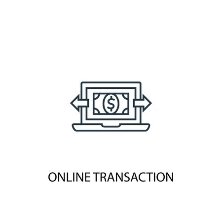 online transaction concept line icon. Simple element illustration. online transaction concept outline symbol design. Can be used for web and mobile