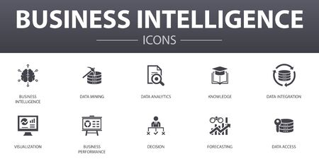 Business intelligence simple concept icons set. Contains such icons as data mining, knowledge, visualization, decision and more, can be used for web, logo