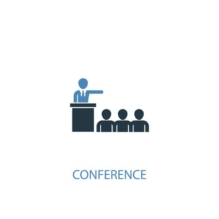 conference concept 2 colored icon. Simple blue element illustration. conference concept symbol design. Can be used for web and mobile