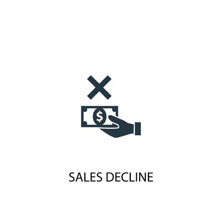 sales decline icon. Simple element illustration. sales decline concept symbol design. Can be used for web