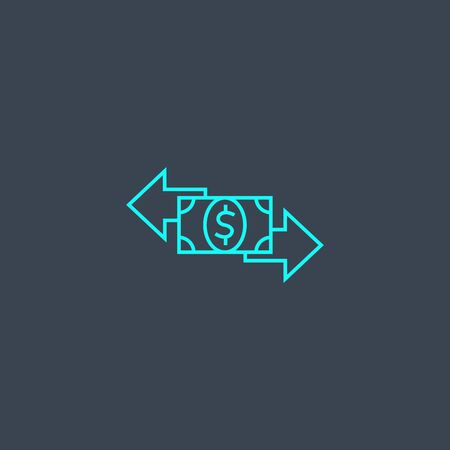 transaction concept blue line icon. Simple thin element on dark background. transaction concept outline symbol design. Can be used for web and mobile