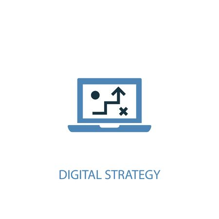 digital strategy concept 2 colored icon. Simple blue element illustration. digital strategy concept symbol design. Can be used for web and mobile Illusztráció