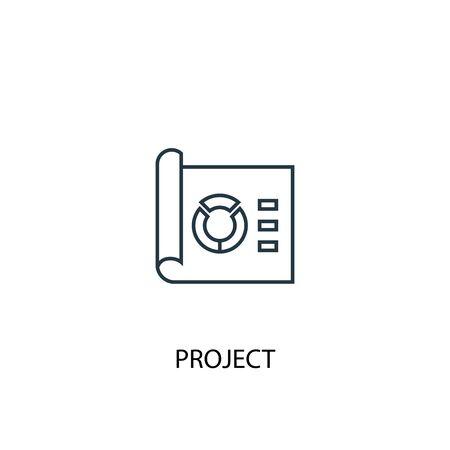 icono de línea de concepto de proyecto. Ilustración de elemento simple. diseño de símbolo de esquema de concepto de proyecto. Se puede utilizar para web y móvil.