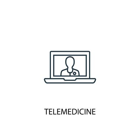 telemedicine concept line icon. Simple element illustration. telemedicine concept outline symbol design. Can be used for web and mobile