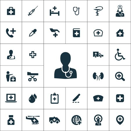 doctor icons universal set for web and UI