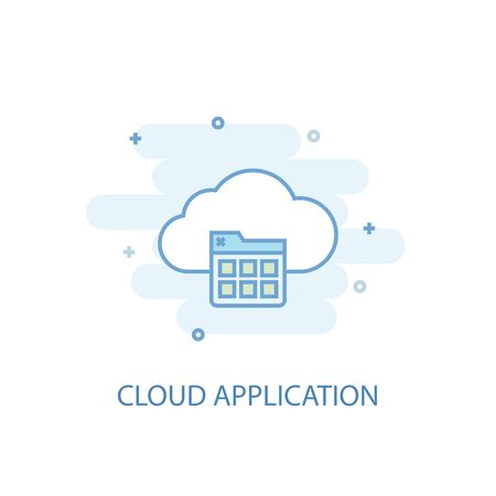 Cloud application line concept. Simple line icon, colored illustration. Cloud application symbol flat design. Can be used for