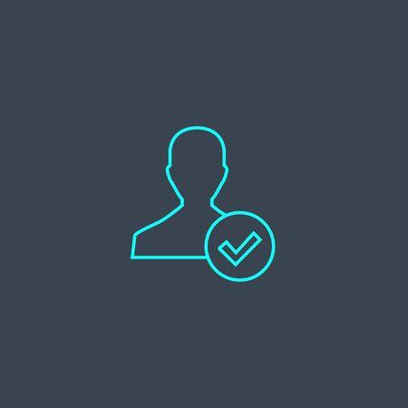 concepto de cuenta icono de línea azul. Elemento delgado simple sobre fondo oscuro. diseño de símbolo de esquema de concepto de cuenta. Se puede utilizar para web y móvil.