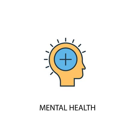 mental health concept 2 colored line icon. Simple yellow and blue element illustration. mental health concept outline design