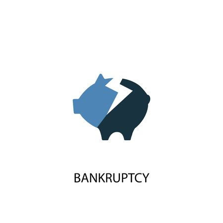 Bankruptcy concept 2 colored icon. Simple blue element illustration. Bankruptcy concept symbol design. Can be used for web and mobile Ilustración de vector