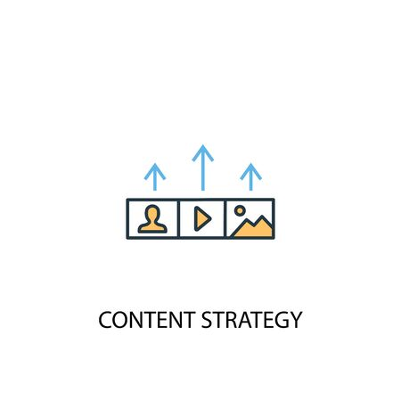 Content strategy concept 2 colored line icon. Simple yellow and blue element illustration. Content strategy concept outline symbol 스톡 콘텐츠 - 133749395