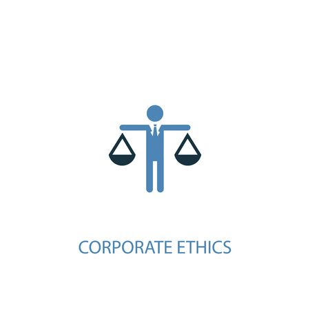 corporate ethics concept 2 colored icon. Simple blue element illustration. corporate ethics concept symbol design. Can be used for web and mobile