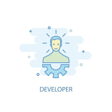 Developer line concept. Simple line icon, colored illustration. Developer symbol flat design. Can be used for 일러스트