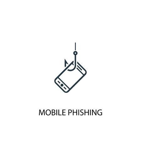 mobile phishing icon. Simple element illustration. mobile phishing concept symbol design. Can be used for web Stock Illustratie