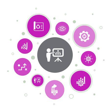 Infografía de planificación de negocios, diseño de burbujas de 10 pasos, gestión, proyecto, investigación, iconos de estrategia