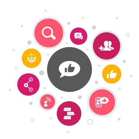 social media Infographic 10 steps bubble design.like, share, follow, comments icons
