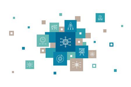 Project management Infographic 10 steps pixel design. Project presentation, Meeting, workflow, Risk management simple icons