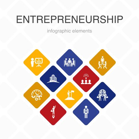 Entrepreneurship Infographic 10 option color design.Investor, Partnership, Leadership, Team building simple icons Stock Vector - 133749324