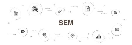 SEM Infographic 10 steps circle design.Search engine, Digital marketing, Content, Internet icons