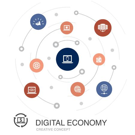 Digital economy colored circle concept with simple icons. Contains such elements as computing technology, e-business, e-commerce, data