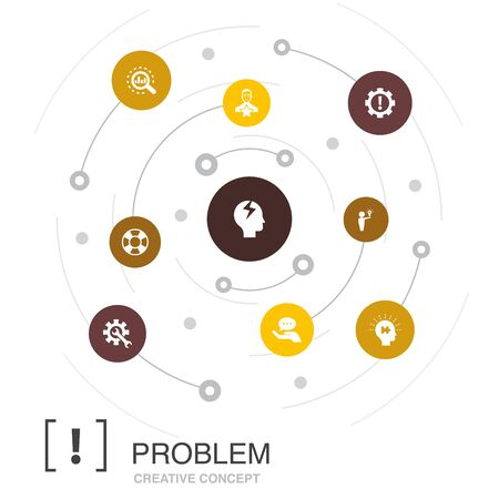 problem colored circle concept with simple icons. Contains such elements as solution, depression, analyze Illustration