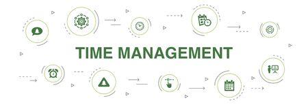 Time Management Infographic 10 steps circle design.efficiency, reminder, calendar, planning icons Stock Illustratie