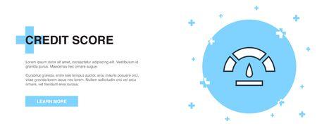 Credit score icon, banner outline template concept. Credit score line illustration design 向量圖像