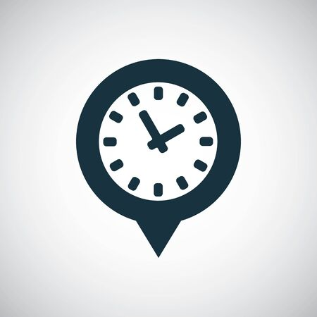 time pin icon, on white background. Ilustrace