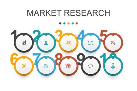 Market research Infographic design template.strategy, investigation, survey, customer simple icons Ilustração