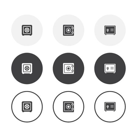 Set of 3 simple design vault icons. Rounded background vault symbol collection