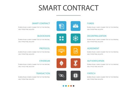 Smart Contract Infographic 10 option concept.blockchain, transaction, decentralization, fintech simple icons
