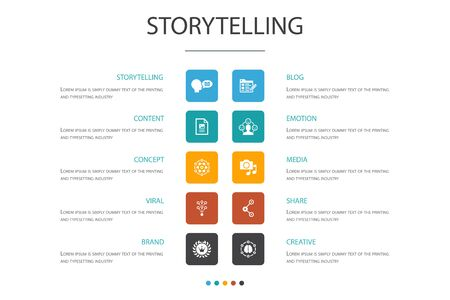 storytelling Infographic 10 option concept.content, viral, blog, emotion simple icons
