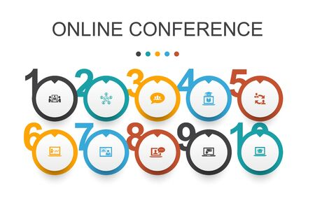 online conference Infographic design template.group chat, online learning, webinar, conference call simple icons