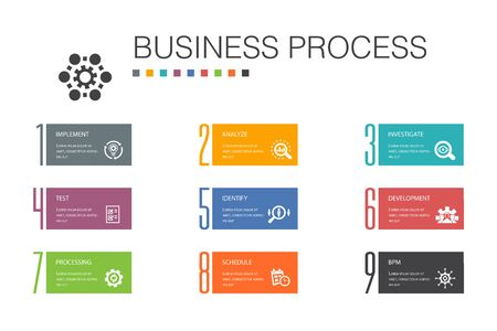Business process Infographic 10 option line concept.implement, analyze, development, Processing simple icons
