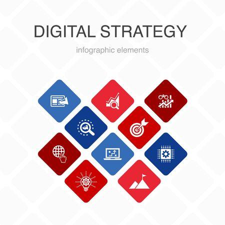 digital strategy Infographic 10 option color design.internet, SEO, content marketing, mission simple icons Vecteurs