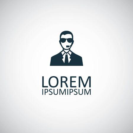 security man icon, on white background. Illustration