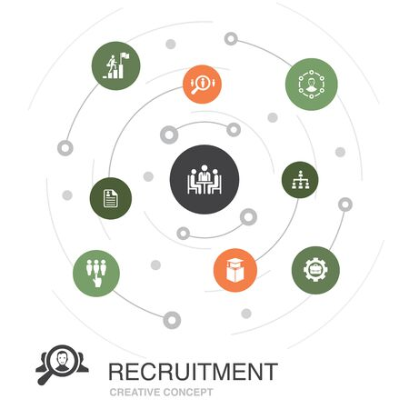 recruitment colored circle concept with simple icons. Contains such elements as career, employment, position, experience Ilustracja
