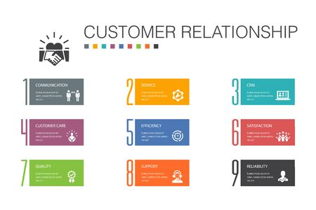 customer relationship Infographic 10 option line concept.communication, service, CRM, customer care simple icons Reklamní fotografie - 133749512