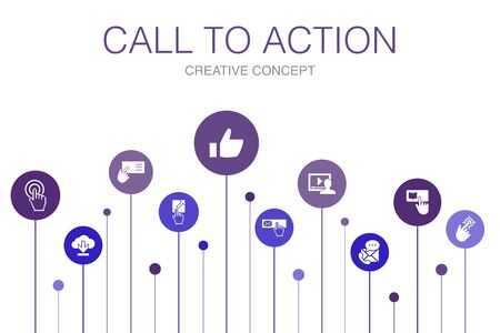 Call To Action Infographic 10 steps template. download, click here, subscribe, contact us simple icons