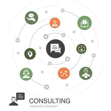 Consulting colored circle concept with simple icons. Contains such elements as Expert, knowledge, experience, consultant