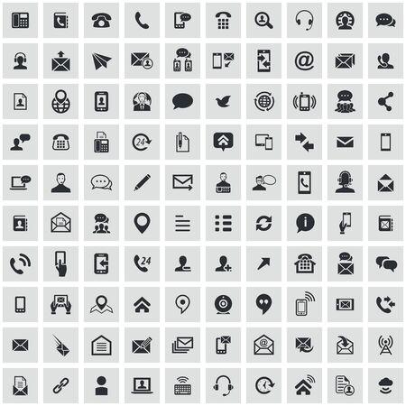 skontaktuj się z nami 100 ikon uniwersalny zestaw dla sieci web i mobile. Ilustracje wektorowe