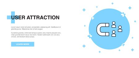 user attraction icon, banner outline template concept. user attraction line illustration design